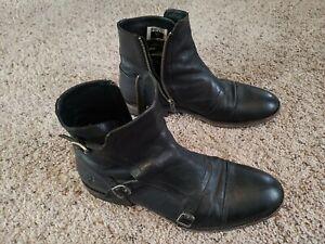 FRYE Ethan Triple Monk Men's Black Ankle Boots 9.5 D