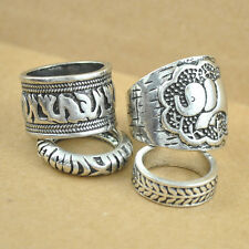 4PC Antique Silver Alloy Bohemian Style Women Knuckle Carving Combined Rings Set