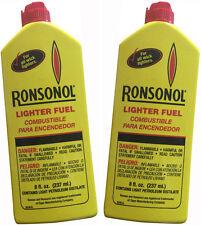 2 Bottles Ronsonol Best Lighter Fuel 8 OZ works with All Wick-Type Lighters