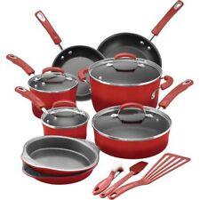 Rachael Ray 15-Piece Hard Enamel Nonstick Cookware Set Aluminum Red