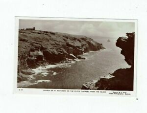 CORNISH POSTCARD REAL PHOTO BY G.W.F. ELLIS CHURCH OF ST. MATERIANA ON THE CLIFF