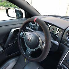 "14.75"" Diameter Steering Wheel Cover Overlay Black Suede Red Sight Line 9268"