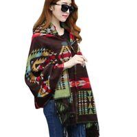 Women Bohemian Collar Plaid Cape Cloak Poncho Jacket Coat Shawl Scarf New