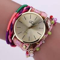 Women's Fashion Watch Bracelet Crystal Weave Wrap Around Analog Wrist Watches