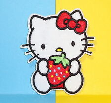 **USA Seller** Hello Kitty Holding Strawberry iron on embroidered appliques