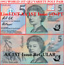 Australia CFU First $5 Polymer Variety Pair AA & AA+Ovpt Fraser Cole Issues r214
