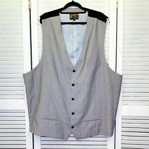 Johnny Bigg Suit Vest Mens Big & Tall 5XL Grey Sleeveless Lined Formal