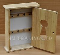 Solid Pine Wooden 8 Keys Hooks Cabinet Cupboard Holder Rack Storage Wall Mounted