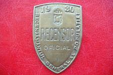 Rare Romania Kingdom General Population Census Official'S Censors Badge 1930
