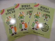IRISH STICKERS 24 stickers f St. Patrick's Day leprechauns - 3 books 72 total