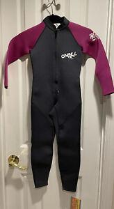 O'Neill Girls Black Pink Long Sleeve Full Zip Wetsuit Kids Size 6 NWT $80