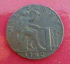 1792 Warwickshire Half Penny Token - mis-strike