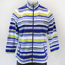 NEW Talbots Plus Size Top Blue Striped Cardigan Pockets Zip Down Sweater 1X