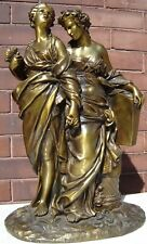 HENRI PICARD ALLEGORICAL FRENCH BRONZE 2 CLASSICAL LADIES  1850'S  ARTS MUSIC