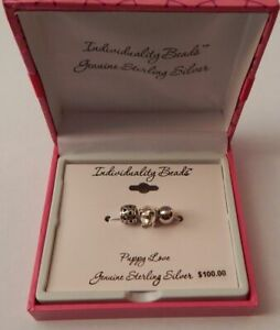 Sterling Silver Individuality Beads Charm Set of 3 - Dog Puppy Love NEW