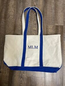 Vintage LL Bean Boat And Tote Freeport Maine Large Ivory / Blue Canvas As Is