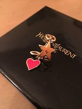SAINT LAURENT Love Ring Iconic YSL MONOGRAM GoldTone  Enamel S Silver 4.3 Grams