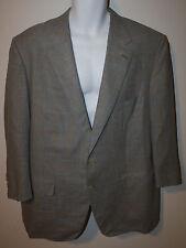 HADLEIGH'S Gray Pale Yellow Plaid Blazer Jacket 46 48 BESPOKE Wool Silk Linen