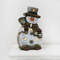 Ceramic Light Up Snowman Christmas Decoration With Shimmery Snow Finish 20cm