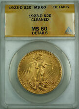 1923-D $20 St. Gaudens Double Eagle Gold Coin ANACS MS-60 Details Cleaned JBH