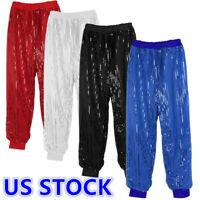US Women Glitter Sequins Harem Hip Hop Dance Pant Shinny Long Trousers Dancewear