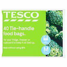 Tesco Tie-Handle Freezer Bags Medium 40'S