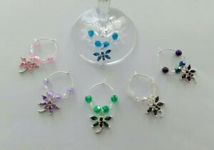 Set of 6 wine glass charms crystal dragonfly ideal gift dinner party