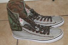 True Religion Mens High Top Shoes Thick Stitch, Green/Tan 10.5M  TR118111-97K