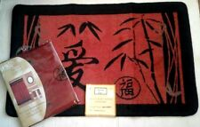 Asian Bamboo Oriental Fabric Shower Curtain & Hand Carved Bath Mat Set