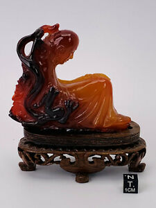 Chinese Agate Carving of a Meditating Arhat