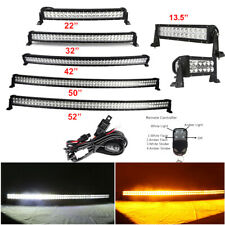 "7"" 14 22 32 42 50 52"" Amber White Offroad Led Light Bar Strobe Warning Driving"