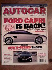 AUTOCAR MAGAZINE 19-AUG-03 - Peugeot 206 GTi 180, BMW 530i E60, Jaguar S-Type