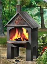 Outdoor Patio Deck Fire Pit Chiminea Cabin Cooking Fireplace BBQ Grill Wood Oven