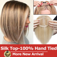 Silk Top 100% Hand Tied Remy Human Hair Topper For Women With Thinning Hair US