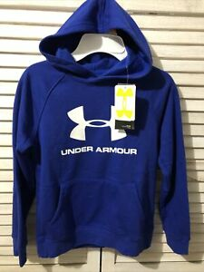 Boys Blue Under Armour Fleece Hoodie with white UA logo size YS, NWT