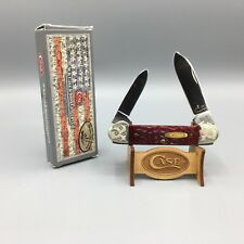 1991 Case Mint Set Canoe Knife Red Bone Scrolled Bolsters Mint - SN#441 - A19