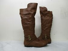 Fergalicious Rodeo Brown Zip Buckle Knee High Boots Womens Size 8.5 M