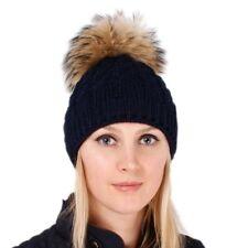 Dunkelblau Wollmütze mit Pelz Pompon aus Finnraccoon Beanie Waschbär Fell Bommel