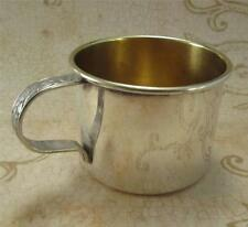 Antique Sterling Baby Cup Floral Handle Gilded Interior