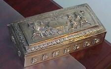 Antique 950 Silver Hinged Jewelry Box Hieroglyphics Egyptian Scenes Rare