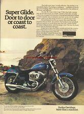 Harley Davidson Super Glide Motorcycle 1980 Mag. Advert #1632