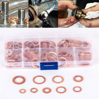 200pcs Copper Washer Gasket Flat Ring Seal Assortment Kit M5 M6 M8 M10 M12 M14