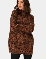 MOTEL ROCKS Neivie Roll Neck Jumper in Tiger Knit Brown  Small S     (mr19)