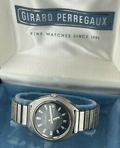 Vintage Girard Perregaux Gyromatic Automatic Date Watch Blue Dial 152-301 in Box