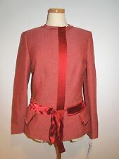 ANNE KLEIN RUBBY MULTI ( BROWNISH RED)ELEGANT JACKET W/ SILK TRIM  8 NWT $380.00