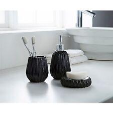 3 Piece Black Textured Edge Bathroom Set Soap Dispenser  Dish Tumbler