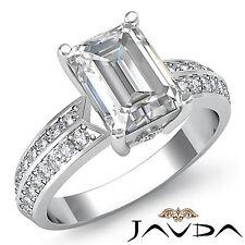 Mujer Esmeralda Diamante Fino Pave Anillo de Compromiso GIA F VS2 14k Oro Blanco