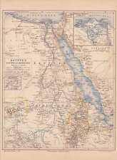 EGYPTE SINAÏ l'Abyssinie L'ÉRYTHRÉE CARTE DE 1888 Dar pour Nubie, schoa