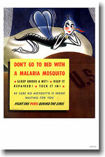 Don't Go To Bed With a Malaria Mosquito VINTAGE POSTER