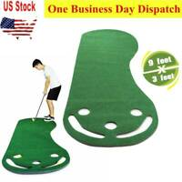9ft Putting Green Indoor Putt Golf Ball Practice Par 3 Training Professional Mat